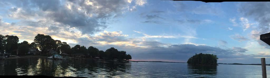 A panoramic view of water and trees and the sky